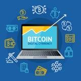 Conceito detalhado realístico da moeda de 3d Bitcoin Vetor Fotografia de Stock