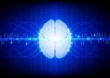 Conceito digital abstrato da tecnologia do cérebro vetor d da ilustração Foto de Stock Royalty Free