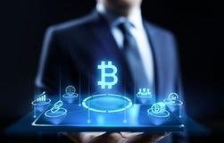 Conceito digital da tecnologia do negócio da finança do dinheiro do cryptocurrency de Bitcoin ilustração stock