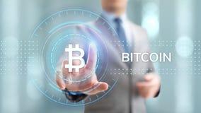 Conceito digital da tecnologia do negócio da finança do dinheiro do cryptocurrency de Bitcoin fotografia de stock royalty free