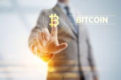 Conceito digital da tecnologia do neg?cio da finan?a do dinheiro do cryptocurrency de Bitcoin ilustração do vetor