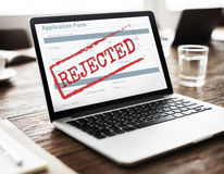 Conceito diminuído rejeitado do formulário do original negativo fotos de stock royalty free