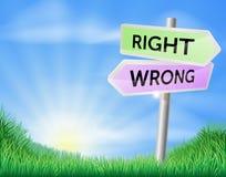 Conceito direito do sinal da maneira do erro da maneira Fotos de Stock Royalty Free