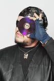 Conceito disparado do homem como o pirata do Internet Foto de Stock Royalty Free