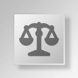 conceito do ícone do botão da lei 3D Foto de Stock Royalty Free
