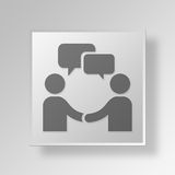 conceito do ícone do botão da reunião 3D ilustração stock