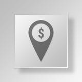 conceito do ícone do botão do marcador do mapa 3D Fotos de Stock
