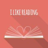 Conceito do ícone Eu gosto de ler Abra páginas do livro como o coração Imagem de Stock