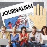 Conceito do índice do artigo da entrevista da notícia do jornalismo fotografia de stock