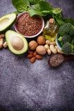 Conceito do alimento saudável Fontes da gordura do vegetariano fotografia de stock