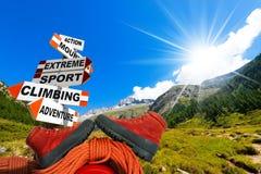 Conceito do alpinismo Fotografia de Stock