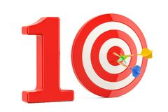 Conceito do alvo 10, do sucesso e da realização rendição 3d Fotografia de Stock