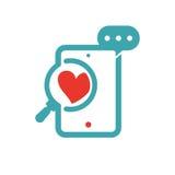 Conceito do amor e vidro da lupa no ícone do vetor da tabuleta ilustração do vetor