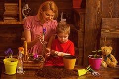 Conceito do amor A mulher e a criança pequena plantam flores com amor Crescido com amor Ame e proteja a natureza fotografia de stock