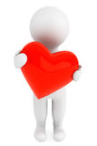Conceito do amor. pessoa 3d com coração vermelho Imagem de Stock Royalty Free