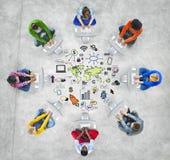 Conceito do anúncio publicitário do mercado da organização mundial do negócio global fotografia de stock