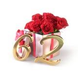 Conceito do aniversário com as rosas vermelhas no presente isolado no fundo branco sessenta-segundo 62nd 3d rendem Imagem de Stock