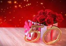 Conceito do aniversário com as rosas vermelhas no presente na mesa de madeira aniversário quinquagésimo 50th 3d rendem Fotografia de Stock Royalty Free