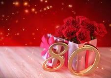 Conceito do aniversário com as rosas vermelhas no presente na mesa de madeira eightieth 80th 3d rendem Foto de Stock Royalty Free