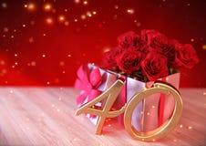 Conceito do aniversário com as rosas vermelhas no presente na mesa de madeira fortieth 40th 3d rendem Foto de Stock Royalty Free