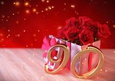 Conceito do aniversário com as rosas vermelhas no presente na mesa de madeira ninetieth 90th 3d rendem Fotografia de Stock Royalty Free