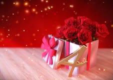 Conceito do aniversário com as rosas vermelhas no presente na mesa de madeira quarto r 3d rendem Imagem de Stock