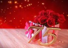 Conceito do aniversário com as rosas vermelhas no presente na mesa de madeira seventyfifth 75th 3d rendem Fotos de Stock Royalty Free