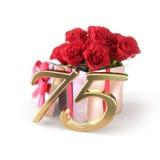 Conceito do aniversário com as rosas vermelhas no presente no fundo branco aniversário do seventyfifth 75th 3d rendem Imagens de Stock Royalty Free