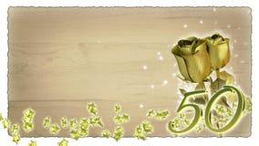 Conceito do aniversário com rosas e a estrela douradas Imagem de Stock Royalty Free