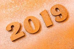 Conceito do ano novo Bandeira do ano novo feliz com ouro 2019 números Fundo criativo 2019 fotos de stock