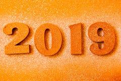 Conceito do ano novo Bandeira do ano novo feliz com ouro 2019 números Fundo criativo 2019 imagens de stock royalty free