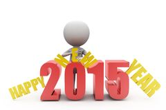 conceito 2015 do ano novo feliz do homem 3d Fotografia de Stock Royalty Free