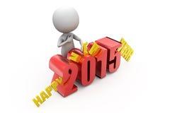 conceito 2015 do ano novo feliz do homem 3d Imagem de Stock