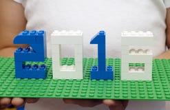 Conceito 2016 do ano novo por Lego Imagem de Stock