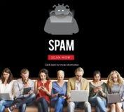 Conceito do Antivirus de Malware do Spyware do vírus de Scam imagem de stock royalty free