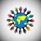 Conceito do apoio de levantamento voluntário pelo mundo inteiro Fotos de Stock Royalty Free