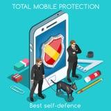 Conceito do App 01 da segurança isométrico Imagem de Stock Royalty Free