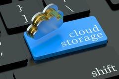 Conceito do armazenamento da nuvem no botão do teclado Fotos de Stock Royalty Free