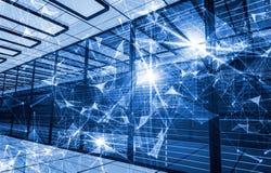 Conceito do armazenamento de dados da tecnologia da informa??o, da computa??o e  Composi??o abstrata com pontos e linhas e tri?ng ilustração do vetor