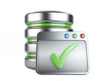 Conceito do armazenamento do base de dados com sinal aprovado Fotos de Stock