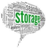 Conceito do armazenamento na nuvem da palavra Imagem de Stock