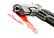 Conceito do assassinato - injetor e sangue imagem de stock