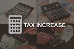 Conceito do aumento do imposto imagem de stock