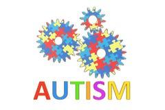 Conceito do autismo com rodas denteadas, 3D Fotos de Stock