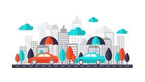 Conceito do auto seguro - carro protegido sob o guarda-chuva que corre na estrada através da cidade Ilustração lisa do projeto ilustração stock