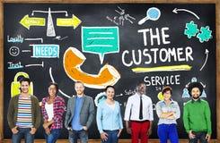 Conceito do auxílio de apoio do mercado-alvo do serviço ao cliente Imagens de Stock