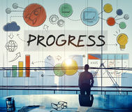Conceito do avanço da inovação do crescimento do desenvolvimento do progresso foto de stock