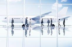 Conceito do avião do transporte da viagem de negócios do curso do aeroporto Imagem de Stock