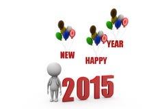conceito do balão do ano novo feliz do homem 3d Fotografia de Stock Royalty Free