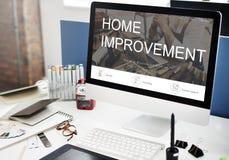 Conceito do botão do registro do Web site da melhoria home fotos de stock